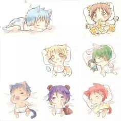 Kuroko no Basuke ~ Generation of Miracles as chibi animals Kawaii Chibi, Cute Chibi, Anime Kawaii, Got Anime, I Love Anime, Anime Art, Kuroko No Basket, Anime Boys, Anime Child