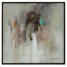 Unrestricted I. Jason Lott's stunning abstract of rich muted color is highlighted by touches of cool teals and greens. The piece is hand finished and complete with a bronze edged gallery molding. Dime