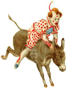 Clown Rides Donkey