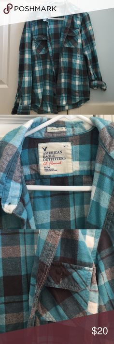 CLOSET CLEAROUT super soft men's flannel I bought this for myself as a larger or sleep top but it is sold a men's top. This is a fuzzy flannel! 2 chest pockets with buttons. American Eagle Outfitters Shirts Casual Button Down Shirts
