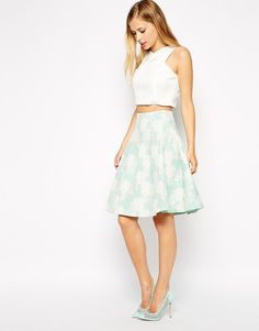 ASOS | ASOS Premium High Waisted Skirt In Jacquard at ASOS