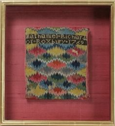 Needlework Flamestitch Pocketbook Roxbury, Massachusetts, circa 1769