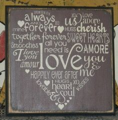 Typography Valentine Love primitive block by Heresyoursignprim, $29.99