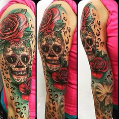 Sugar skull tattoo with roses and leopard print - Tattoo Life Leopard Tattoos, Girly Tattoos, Star Tattoos, Rose Tattoos, Body Art Tattoos, Sleeve Tattoos, Garter Tattoos, Hip Tattoos, Skull Candy Tattoo