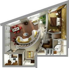 I wonder if I'd be able to pull it off. Home Interior Design, Interior Architecture, 3d House Plans, Apartment Floor Plans, Apartment Layout, Sims House, Tiny House Design, House Layouts, House Rooms