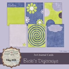 FREE 3 x 4 Journal Cards by Becki's DigiScrapping: SNP May Blog Train