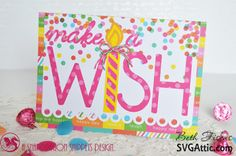 Beth's Beauties: Make a Wish card using Raspberry Cupcake and Twisted Lime #trendytwine #dcwv #svgattic #svg