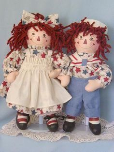 Raggity Twins handpainted cloth rag dolls  only sold by SNSDOLLS