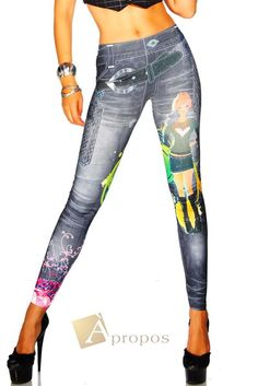 Leggings Jeggings Treggins Stretch Strumpfhose Jeans Blau Schwarz Slimfit OS