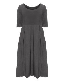 Isolde Roth Box-pleated linen dress in Grey