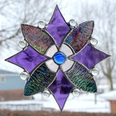 Purples Blue Green and Iridescent Clear Stained by GoodGriefGlass, $32.00