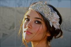 Bandeau - Crystal Beading and Vintage Petals on Veiling