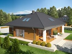 Single storey inspirational small house + plans , Ground-floor basement, with a loft to adapt, with double garage suitable for person family. Bungalow House Plans, Bungalow House Design, Modern House Plans, House Floor Plans, Single Storey House Plans, One Storey House, Facade House, House Roof, Zen House
