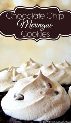 My Grandma Claire called them Forgotten Cookies because you leave them in the oven for so long. Chocolate Chip Meringue Cookies My Grandma Claire called them Forgotten Cookies because you leave them in the oven for so long. Yummy Cookies, Yummy Treats, Sweet Treats, Baking Recipes, Cookie Recipes, Dessert Recipes, Recipes Dinner, Pasta Recipes, Soup Recipes