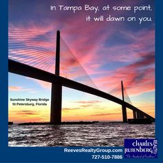 Dawn Over Tampa Bay In St. Petersburg, Florida With The Sunshine Skyway  Bridge.
