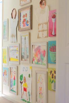 playroom/gallery wall of kids artwork Childrens Art Display, Childrens Artwork, Kids Artwork, Art Wall Kids, Art For Kids, Kid Art, Artwork Wall, Wall Art, Artwork Display