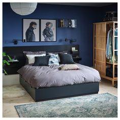 NORDLI Bed frame w storage and headboard, anthracite - anthracite - IKEA Blue Bedroom, Bedroom Colors, Master Bedroom, Bedroom Decor, Men's Bedroom Design, Bedroom Ideas, Ikea Bedroom, Bed Frame With Storage, Bed Storage