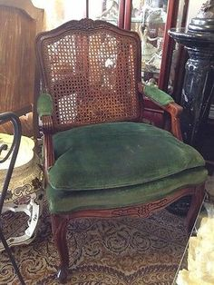 Vintage Antique Wood Armchair Hand Caned Back Velour Deep Green Seat | eBay