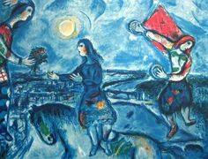 Lovers Over Paris, Ltd Ed Offset Lithograph, Marc Chagall #Expressionism