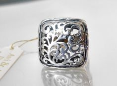 New Art Nouveau Style STERLING Silver 925 Designer ISRAEL Sculpted Ring Size 9 #Handmade #Band