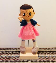 crochet Eleven doll! (WIP...Still working on the face) : crafts Crochet Doll Pattern, Crochet Dolls, Pattern Art, Crochet Patterns, Kawaii Crochet, Cute Crochet, Knit Crochet, Crochet Case, Bobby Brown Stranger Things