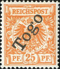 Togo 1897 Overprint on german regulars  [MiNr 5 b] 25pf  Dark orange