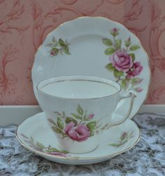 Old Royal Tea Cup Trio - tea Cup, Saucer, Tea Plate, Vintage English Rose Floral and Gilt Bone China, Very Good Condition by ImagineHowCharming on Etsy