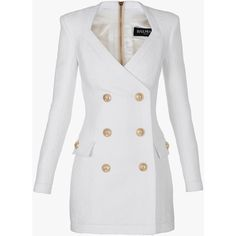 Balmain Cotton-blend double-breasted mini-dress (231600 RSD) found on Polyvore featuring dresses, balmain, jackets, outerwear, coats, embellished mini dress, white mini dress, long sleeve short dress, pocket dress and balmain dress