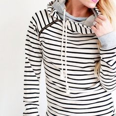 I LOVE this. I love the offset hoodie pulls, love the small stripes, looks comfy but not frumpy.