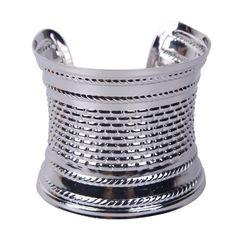 Retro Unisex Silvery Plated Open Bangle Bracelet Women Ladies Elegant Arm Cuff