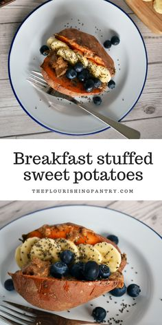 Instead of turning your sweet potato into toast for breakfast, this recipe is embracing the sweet potato for all its filling potential. Stuffed sweet potatoes are an obvious savoury dish for an easy lunch for dinner and definitely not something you might Healthy Vegan Snacks, Nutritious Snacks, Healthy Breakfast Recipes, Brunch Recipes, Healthy Recipes, Free Recipes, Paleo, Sweet Potato Toast, Sweet Potato Breakfast
