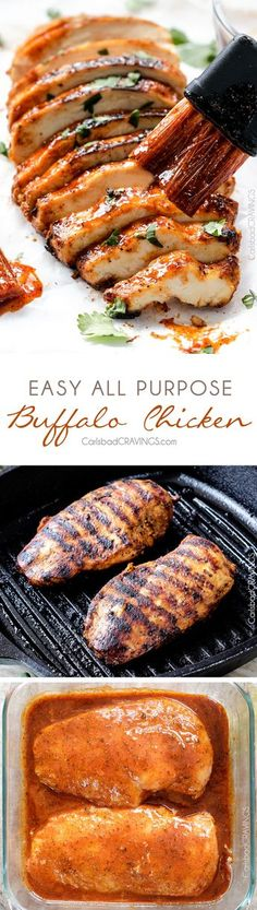(This was delicious! I tried it grilled with regular buffalo sauce, and the amount of heat was perfect for me) All Purpose Buffalo Chicken is SO juicy and flavorful from the easy marinade and is a meal all by itself or instantly transforms salads, sandwiches, wraps, tacos, etc into the most flavor bursting meal EVER! I love having this chicken on hand!