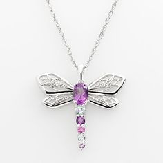 Sterling Silver Lab-Created Amethyst, Lab-Created Sapphire and Sky Blue Topaz Dragonfly Pendant Blue Topaz Stone, Sapphire Stone, Amethyst Stone, Dragonfly Necklace, Dragonfly Pendant, Moon Jewelry, Fine Jewelry, Black Gold Jewelry, Silver Labs