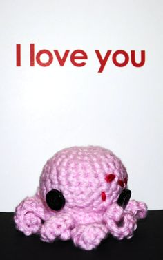 Pink Love Octopus with heart around its eye <3