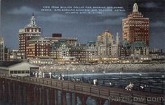 Showing Shelburne, Dennis, Marlborough Blenheim and Claridge Hotels. Atlantic City is a Fisherman's Paradise. Here the devotee of the sport has his choice of... Margate Nj, Jewel Of The Seas, Atlantic City, Galveston, Old Pictures, New Jersey, Night Time, Empire State Building, Hotels