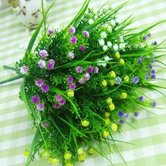 Small Artificial Green Plants Grass Fake Floral Plastic Silk Eucalyptus Flowers For Office Hotel Wedding Table Decor