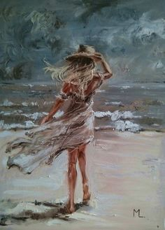 """ JUST SEA AND I ... ""- SEA SAND liGHt ORIGINAL OIL PAINTING, GIFT, PALETTE KNIFE by Monika Luniak #OilPaintingGirl"