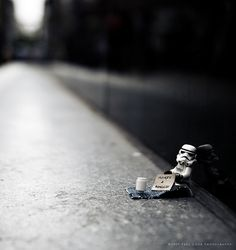 After the destruction of the Death Star, a storm trooper falls on hard times.