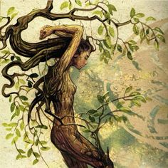 Dryad by Séverine Pineaux Earth Art nymph fairy pixie magic fantasy art trees tree spirit nature woodland Fantasy Creatures, Mythical Creatures, Inspiration Art, Tree Art, Tree Of Life, Cool Artwork, Faeries, Fantasy Art, Concept Art