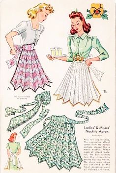 Vintage 1940s Unique NECK TIE APRON Pattern Accordion Style With Pansy Flowers Transfer McCall 884 Vintage Sewing Pattern One Size