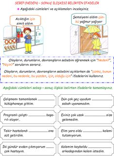 Class Turkish Expression Expressing Cause-Effect - Grundschule Speech Language Therapy, Speech And Language, Classroom Activities, Activities For Kids, Learn Turkish Language, Cause And Effect, Learning Arabic, Teaching English, Preschool