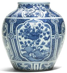 A Chinese blue and white ovoid jar, Ming Dynasty, Wanli period