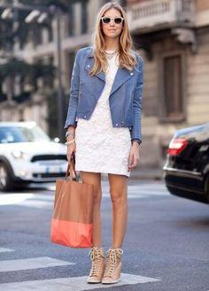 jaqueta de couro colorida azul