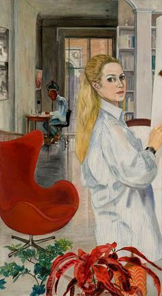 """Sylvia Sleigh  """"Working at Home""""  1969"""