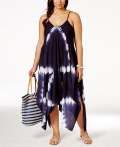Raviya Plus Size Tie-Dye Handkerchief-Hem Cover-Up Dress   macys.com