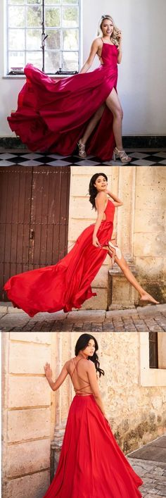 Gorgeous Straps Red Long Prom Dress with Slit
