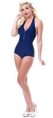 1950s Style Navy Swimsuit with Buttons