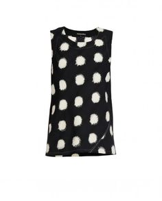 Black and White Ikat Polka Dot Top