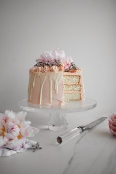Pink Champagne, White Chocolate and Rose Layer Cake (use beet juice instead of food colouring, you just need a few drops)