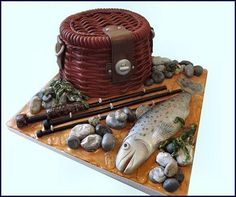 fishing basket cake art - Cake by Storyteller Cakes Dad Cake, Different Cakes, Cake Makers, Cakes For Men, Fancy Cakes, Sweet Cakes, Cake Creations, Creative Cakes, Celebration Cakes